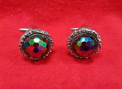 Vintage Cuff Links With Large Crystal Accents Silver Tone