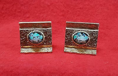 Vintage Cuff Links With Opal Accents Set In Gold Tone Metal