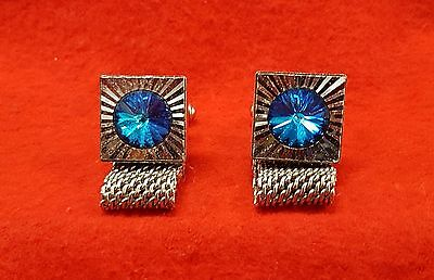 Vintage Cuff Links Silver Tone  With Mesh Band & Blue Faceted Glass Stone