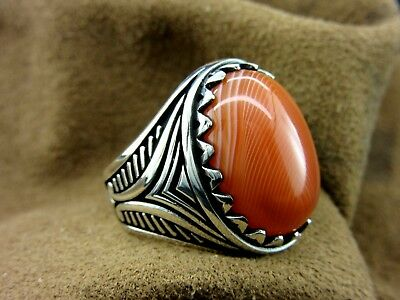 Turkish Handmade Ottoman Style 925 Sterling Silver Agate Men's Ring Size 9
