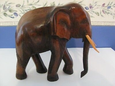 Large Hand Carved Wood Elephant- In Fantastic Condition; Beautiful