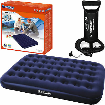 BESTWAY Airbed Flocked Camping Inflatable Mattress Blow Up Three Sizes inc Pump