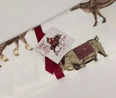 """Pottery Barn Silly Stag Table Runner ~ 18x108"""" ~ Christmas/Holiday ~ NWT"""