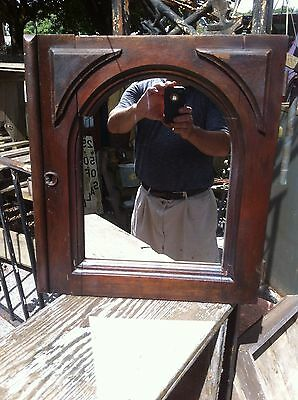 vtg Antique Primitive Victorian Wood wall Mirror Cabinet Door Gothic Missionary