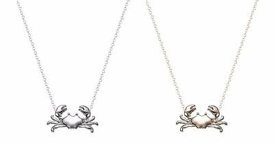 "7/8"" x 1/2"" CRAB Charm Necklace with 17"" Chain with Lobster Claw Clasp"