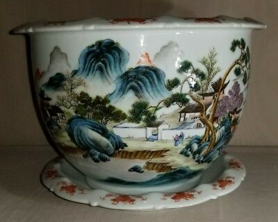 A Very Nice Chinese Famille Rose Porcelain Planter And Underplate With Mark 20 C