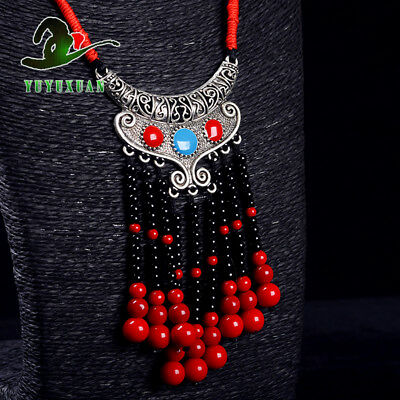 Necklace& Tibet Silver Carved Pattern Pendant& Red Coral Tassels M2002`b