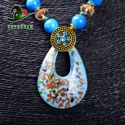 Turquoise Beads Necklace & Old Beijing Glaze Pendant Sweater Chain M3022`f