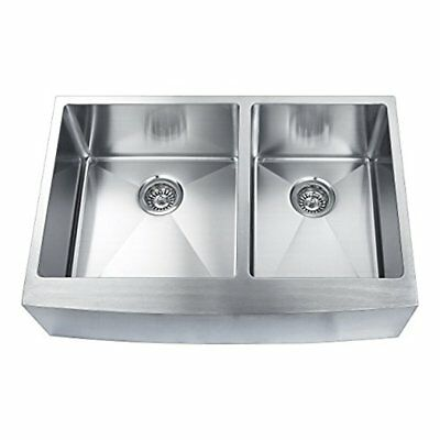 BOANN Hand Made Skirt Front R15 60/40 Double Bowl Undermount Sink, 16-Gauge