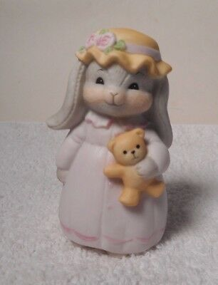 1984 Lucy Rigg ROSIE The Rabbit Holding A Teddy Bear - RARE  Lucy & Me Figurine