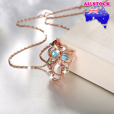 Classic Wholesale 18K Rose Gold Filled Colorful Crystal Owl Necklace Pendant