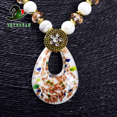 White Jade Beads Necklace & Old Beijing Glaze Pendant Sweater Chain M3018`f