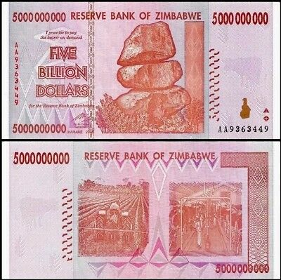 ZIMBABWE 5 Billion Dollars, 2008, P-84, World Currency, 100 Trillion Series