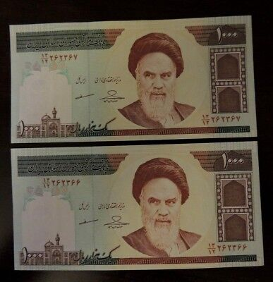 2X 1000 Series Iranian Iran Rial Khomeini Collectible Uncirculated Persian Money