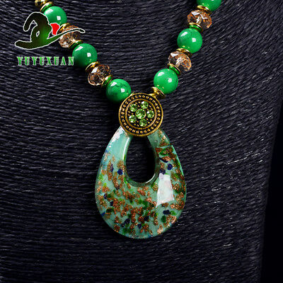 Jade Beads Necklace & Old Beijing Glaze Pendant Sweater Chain M3016`f