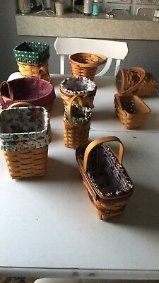 Lot Of 10 Longaberger Baskets - Most With Liners