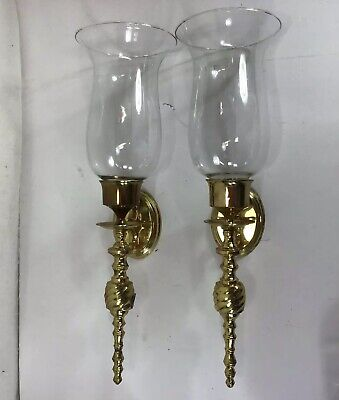 "Two Vintage Solid Brass Wall Candle Sconce With Globes 10"" Sconces 8"" Globe"