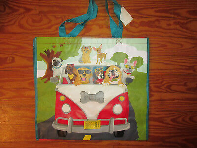 TJMaxx Marshalls Reusable Shopping Tote Gift Bag Dogs VW Bus SO CUTE!