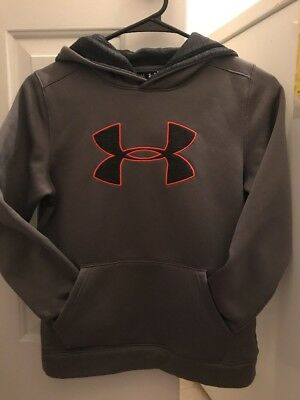Youth Medium Under Armour Heat #1 Hoodie Excellent Condition Gray/Black/Orange