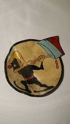 "WW2/WWII US Air Force Original Leather Patch 25th Bomb Squadron CBI  4.5"" Off A2"