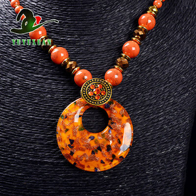 Jade Beads Necklace & Old Beijing Glaze Pendant Sweater Chain M3013`b