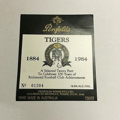 Rare '84 Penfolds Wine Label Celebrating 100 Years Of The Richmond Football Club