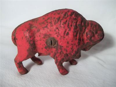 Vintage Cast Iron Old West Western Buffalo Bison Still Coin Money Bank