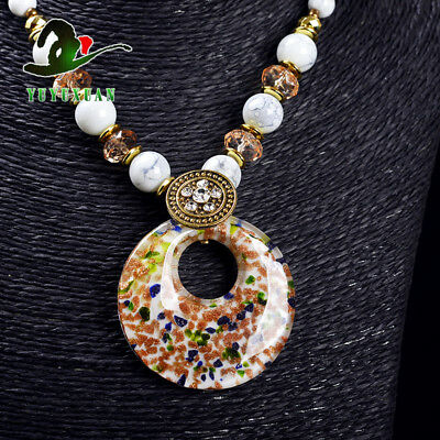 Jade Beads Necklace & Old Beijing Glaze Pendant Sweater Chain M3011`e