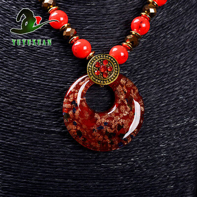 Red Jade Beads Necklace & Old Beijing Glaze Pendant Sweater Chain M3008`a