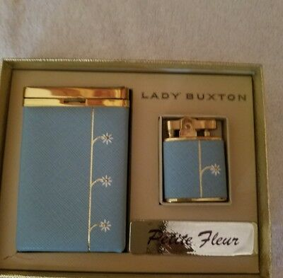 Vintage Buxton Hard Cigarette Case with lighter Baby Blue With Flowers