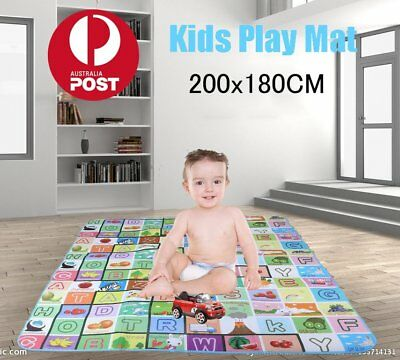 2mx1.8m XXL Nontoxic Baby Kids Play Mat Floor Rug Picnic Cushion Crawling Mat FQ