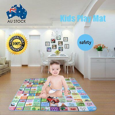 2mx1.8m XXL Nontoxic Baby Kids Play Mat Floor Rug Picnic Cushion Crawling Mat GF