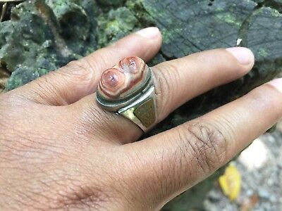 Rare Unique Old Antique Fire Agate Fossilized Ring Natural Stone Vintage Size 10