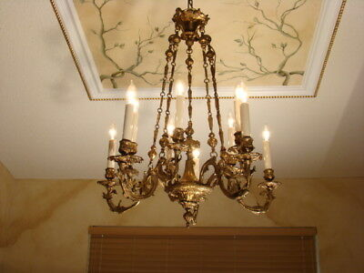 GREAT OLD FRENCH ROCOCO BRASS BRONZE CHANDELIER 10 LIGHTS EARLY 20th CENTURY