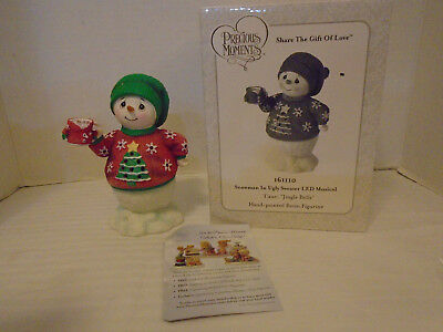 Precious Moments LED Light Up & Musical Snowman In Ugly Sweater  #161110