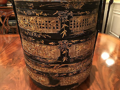 A Rare and Large Chinese Antique Lunch Basket with Gilt, Marked.