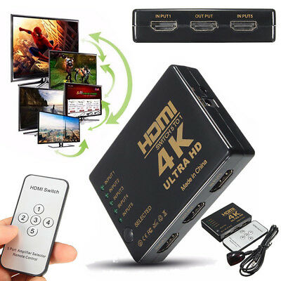 3D 1080P 5 Port 4K HDMI Switch Selector Splitter Hub IR Remote Control For HDTV