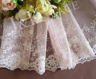 21 cm width Pretty Pearl Pink&White Embroidery mesh Lace Trim