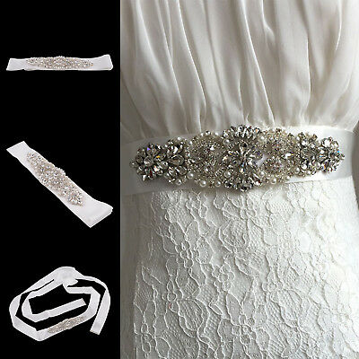 Vintage Crystal Rhinestones Bridal Wedding Accessories Dress Sash Belt UK Seller