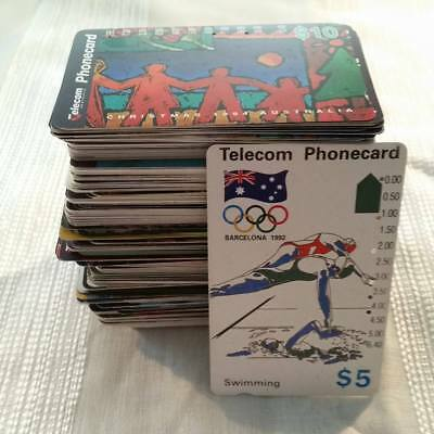 Phone Cards Used Telstra Telecom Various Large Lot Collection