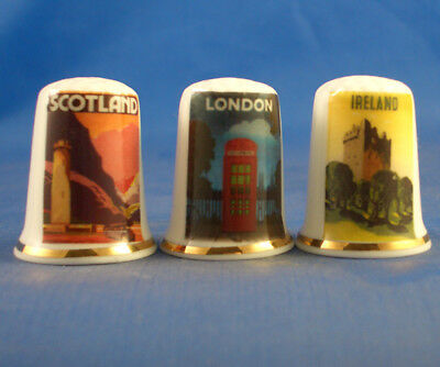Birchcroft Thimbles -- Set of Three -- Travel Posters United KIngdom