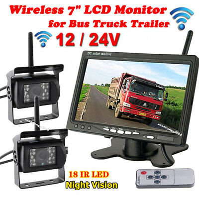 "7"" Wireless Vehicle Rear View Monitor +2x RV Truck Trailer Parking Backup Camera"