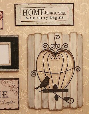 Rustic Wooden Sign Plaques Vintage Home Wall Decorative Antique Gift Bird Cage