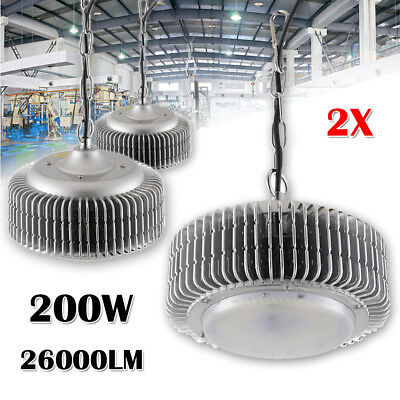 2Pcs 200W LED High Bay Light Commercial Warehouse Industrial Factory Shed Lamp