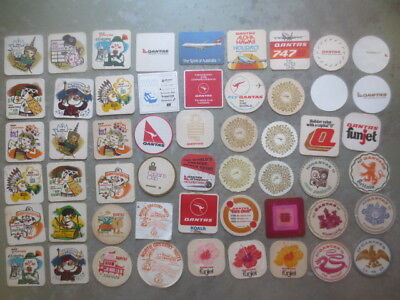 54 diifferent QANTAS Airline collectable COASTERS  Australian Issue