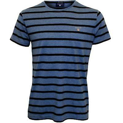 Gant Breton Stripe Men's Crew-Neck T-Shirt, Blue/navy