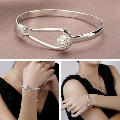 Women Silver Plated Indian Circle Rose Flower Cuff Bangle Bracelet Jewelry