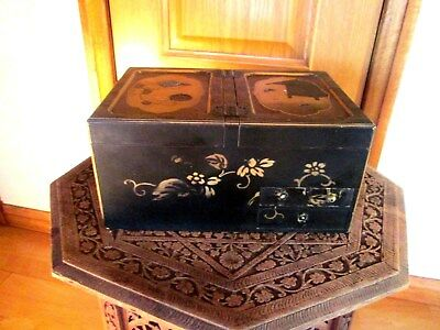 Antique c1800`s Chinese Black Hand Lacquered Ladies Wooden Table Wedding Cabinet