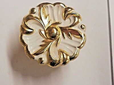 Lot of 4 Vintage Dated 1960 White and Brass Cabinet Drawer Pull Knobs