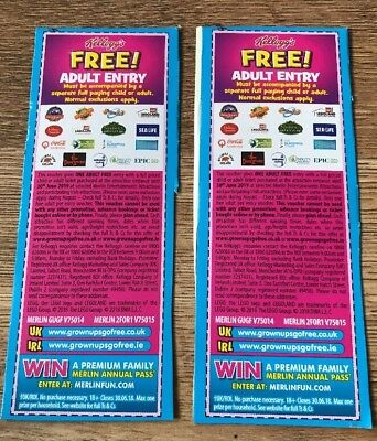 KELLOGGS Free Adult Entry Merlin 2 for 1 voucher Legoland/ Thorpe Park/ Sealife